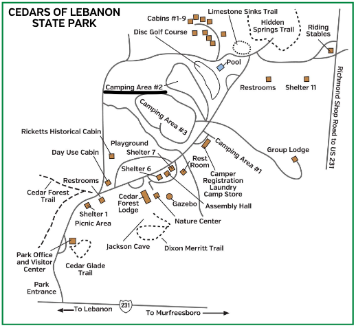 Campground Map of Cedars of Lebanon